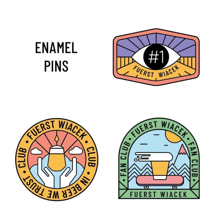 Enamel Pins from the FUERST WIACEK Brewery Opening Commemorative Box