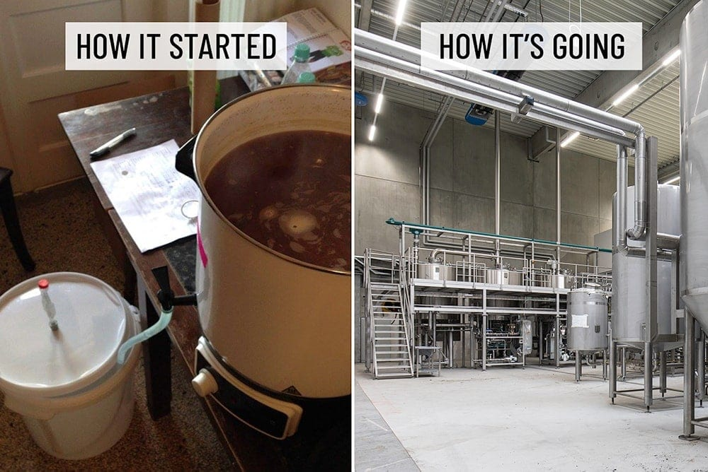 FUERST WIACEK Origin Story - How it Started / How It's Going Meme comparing homebrewing witha Glühweinkocher and a 25-Hectolitre Krones brewhouse