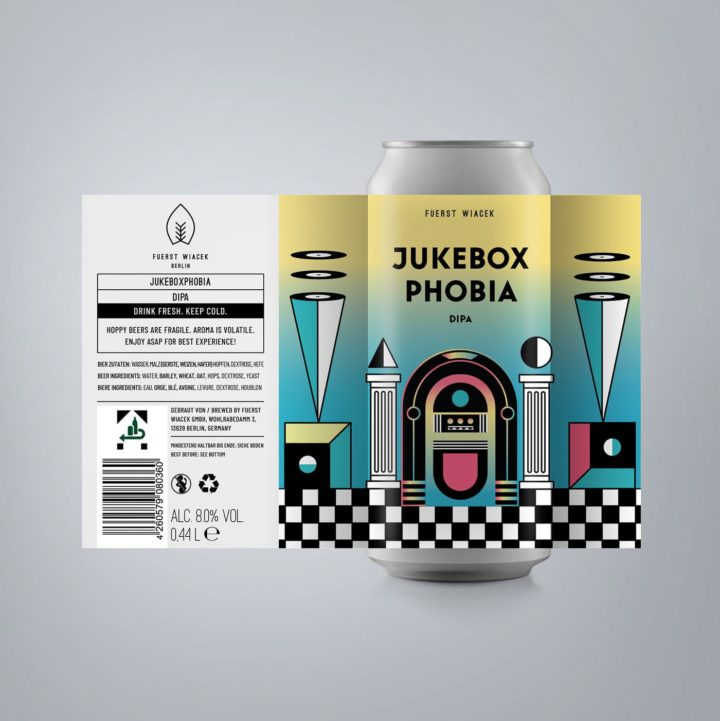 Jukeboxphobia - an 8.0 % DIPA from FUERST WIACEK, a craft beer brewery in Berlin - Dry-hopped with Citra & Idaho 7
