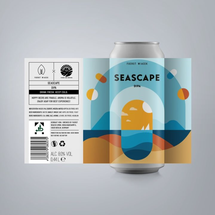 Seascape - an 8.0 % DIPA from FUERST WIACEK, a craft beer brewery in Berlin in collaboration with Vitamin Sea Brewing - Dry-hopped with Citra, Motueka & Loral