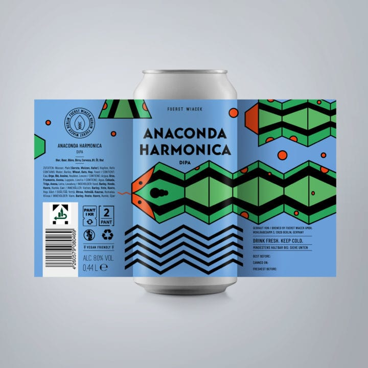 Anaconda Harmonica - an 8.0 % DIPA from FUERST WIACEK, a craft beer brewery in Berlin - Dry-hopped with Galaxy & Amarillo