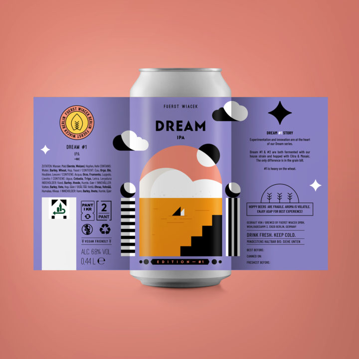 Dream #1 - a 6.8 % IPA from FUERST WIACEK, a craft beer brewery in Berlin - Dry-hopped with Citra & Mosaic