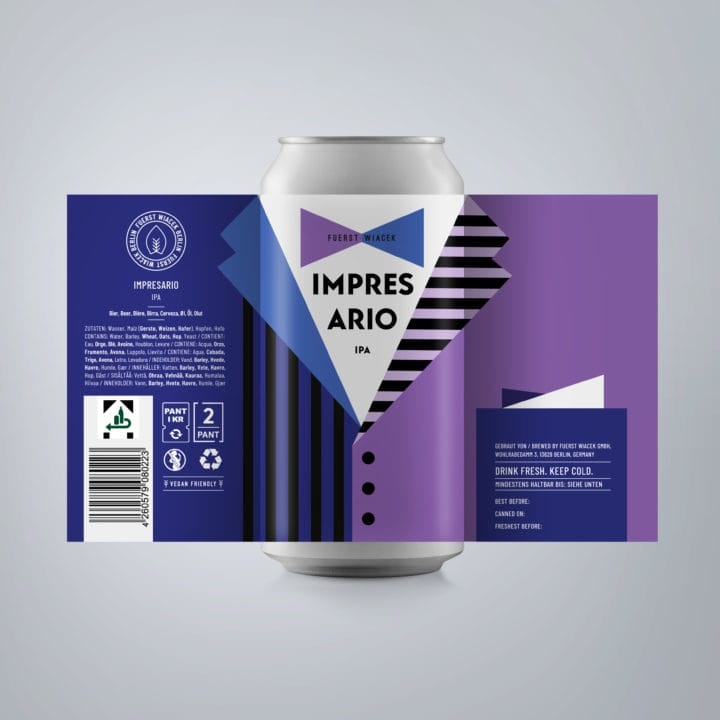 Impresario - a 6.8 % IPA from FUERST WIACEK, a craft beer brewery in Berlin - Dry-hopped with Citra, Mosaic & Chinook