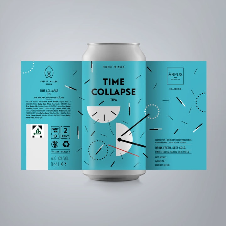 Time Collapse - a 10.0 % TIPA from FUERST WIACEK, a craft beer brewery in Berlin - Dry-hopped with Strata, Motueka & Citra