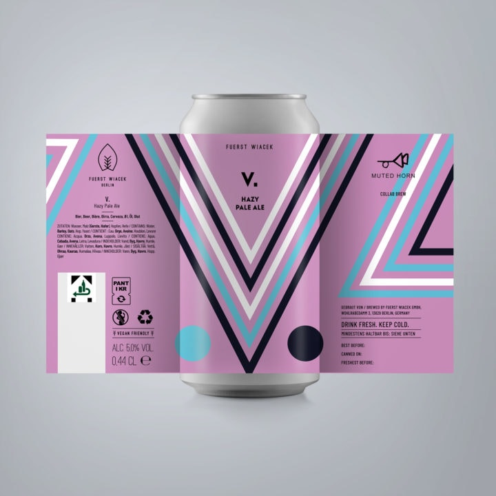 V. - a 5.0 % Hazy Pale Ale from FUERST WIACEK, a craft beer brewery in Berlin - Dry-hopped with Galaxy & Motueka