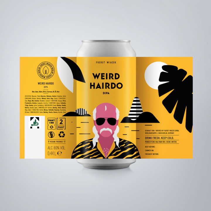 Weird Hairdo - an 8.0 % DIPA from FUERST WIACEK, a craft beer brewery in Berlin - Dry-hopped with Citra, Galaxy & Idaho 7